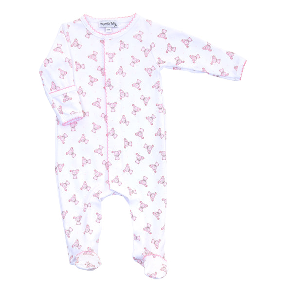 Essentials Baby's Teddy Pink Printed Footie