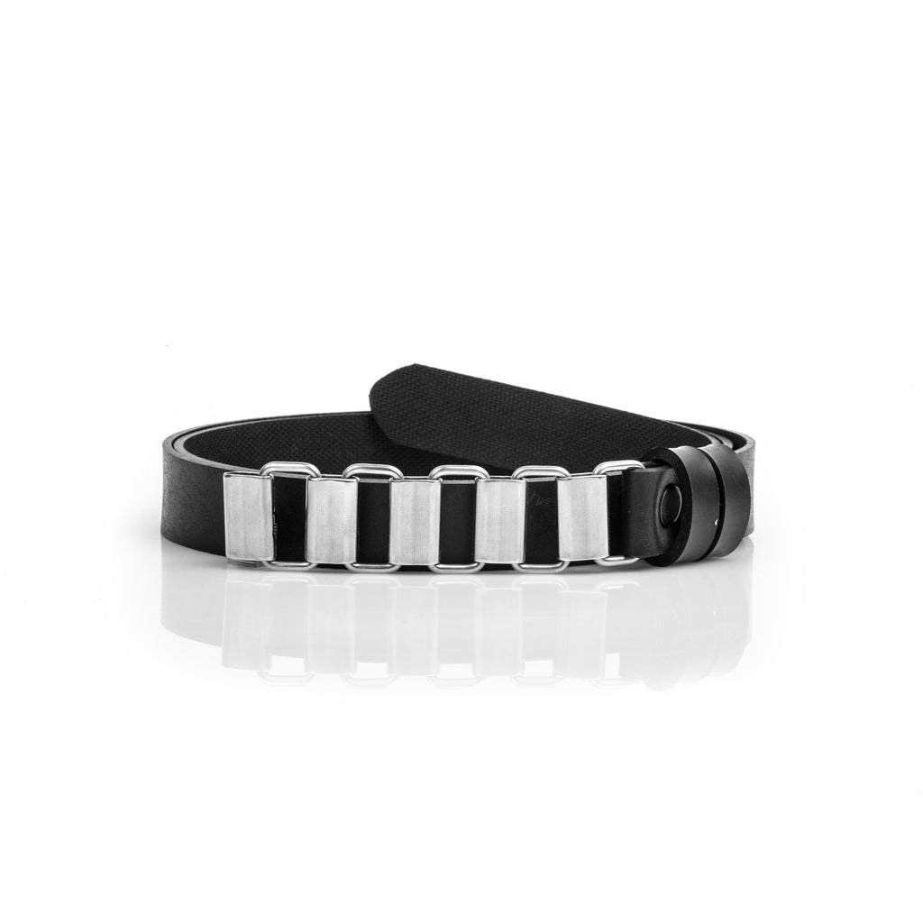"The ""Beat"" Belt 20MM - Black Vegan Belt With Stainless Steel Buckle"
