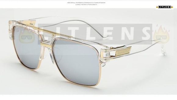 Clear Silver Pilot Sunglasses