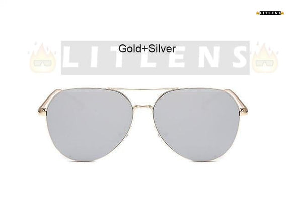 Gold + Silver Aviator Sunglasses