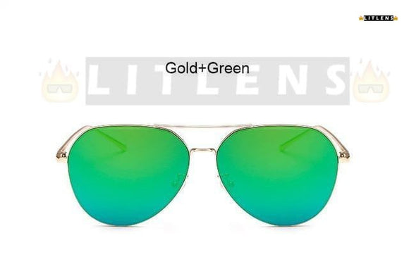 Gold + Green  Aviator Sunglasses