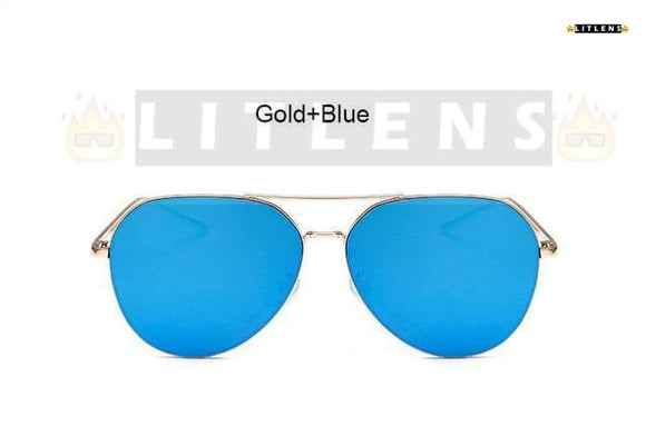 Gold + Blue Aviator Sunglasses