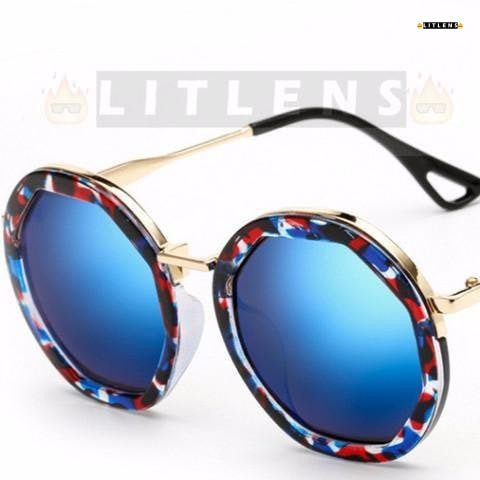 Festive Blue Retro Steampunk Sunglasses