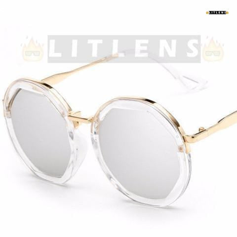 Glacier White Retro Steampunk Sunglasses