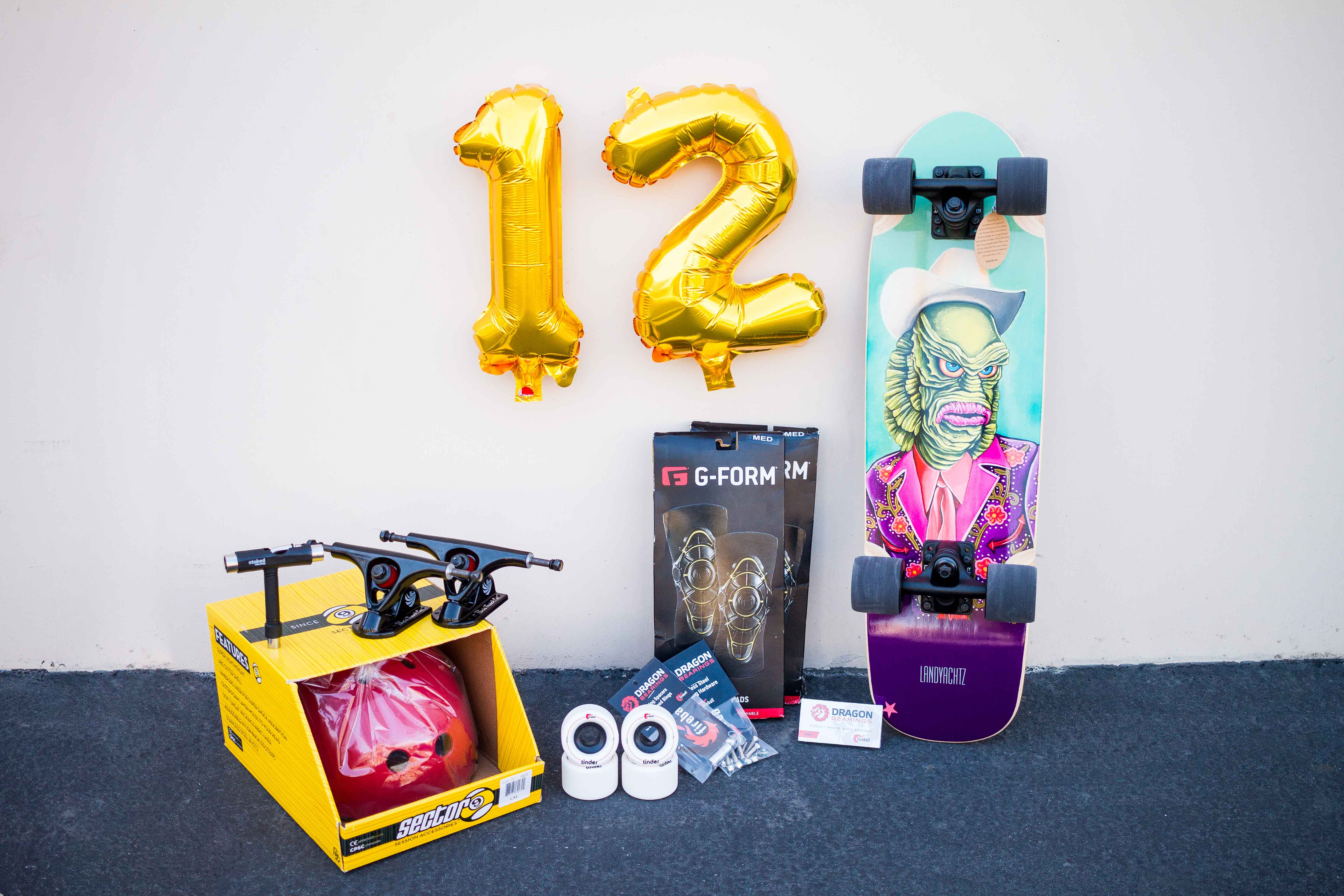 Stoked Ride Shop Give Away Longboard Dancing and Freestyle Landyachtz Sector 9 Paris Trucks Fireball Wheels and Bearings