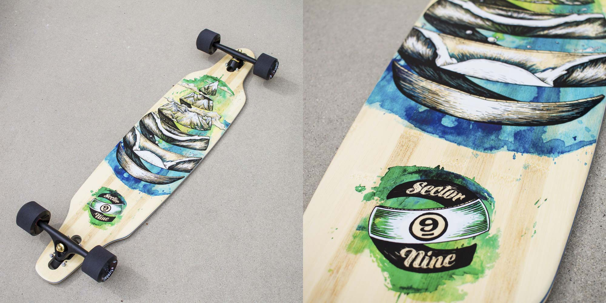 Sector 9 Nine Droplet Lookout Longboard Skateboard Graphic
