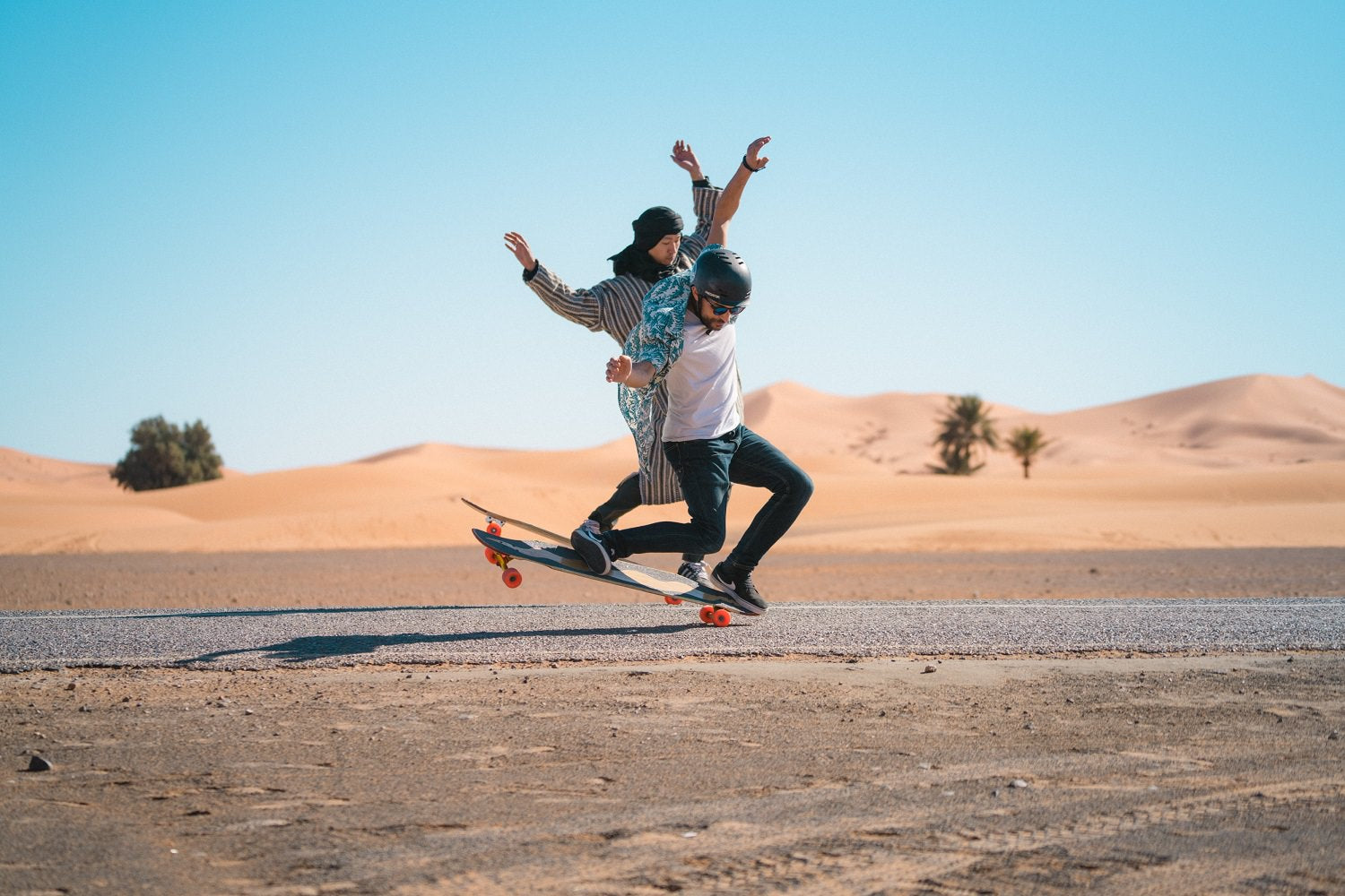 Loaded Tarab Longboard Manual in the Desert