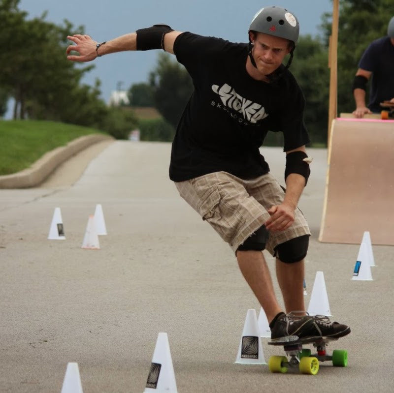 Russell Cantor going through slalom cones
