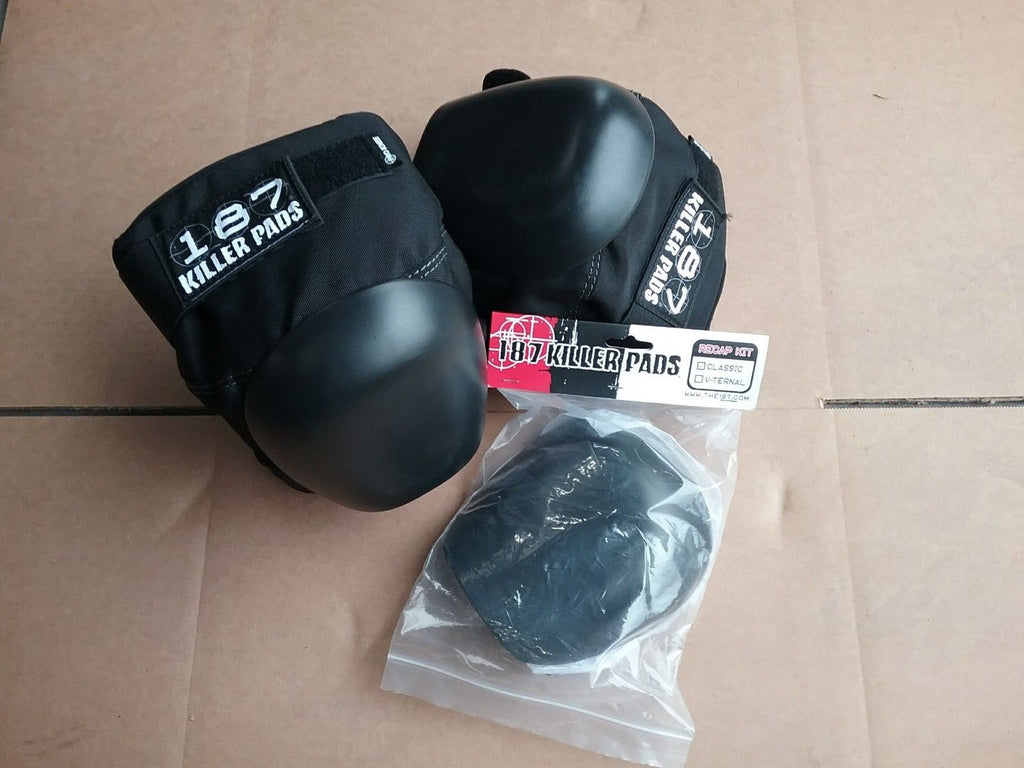 187 Killer Pads Pro Knee Medium Black with Classic Black Re-Cap Kit Skateboard