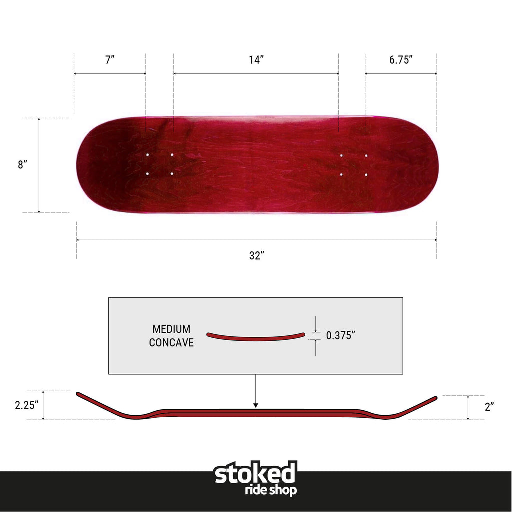 Stoked Ride Shop Blank Deck, Red Stain, Multiple Widths
