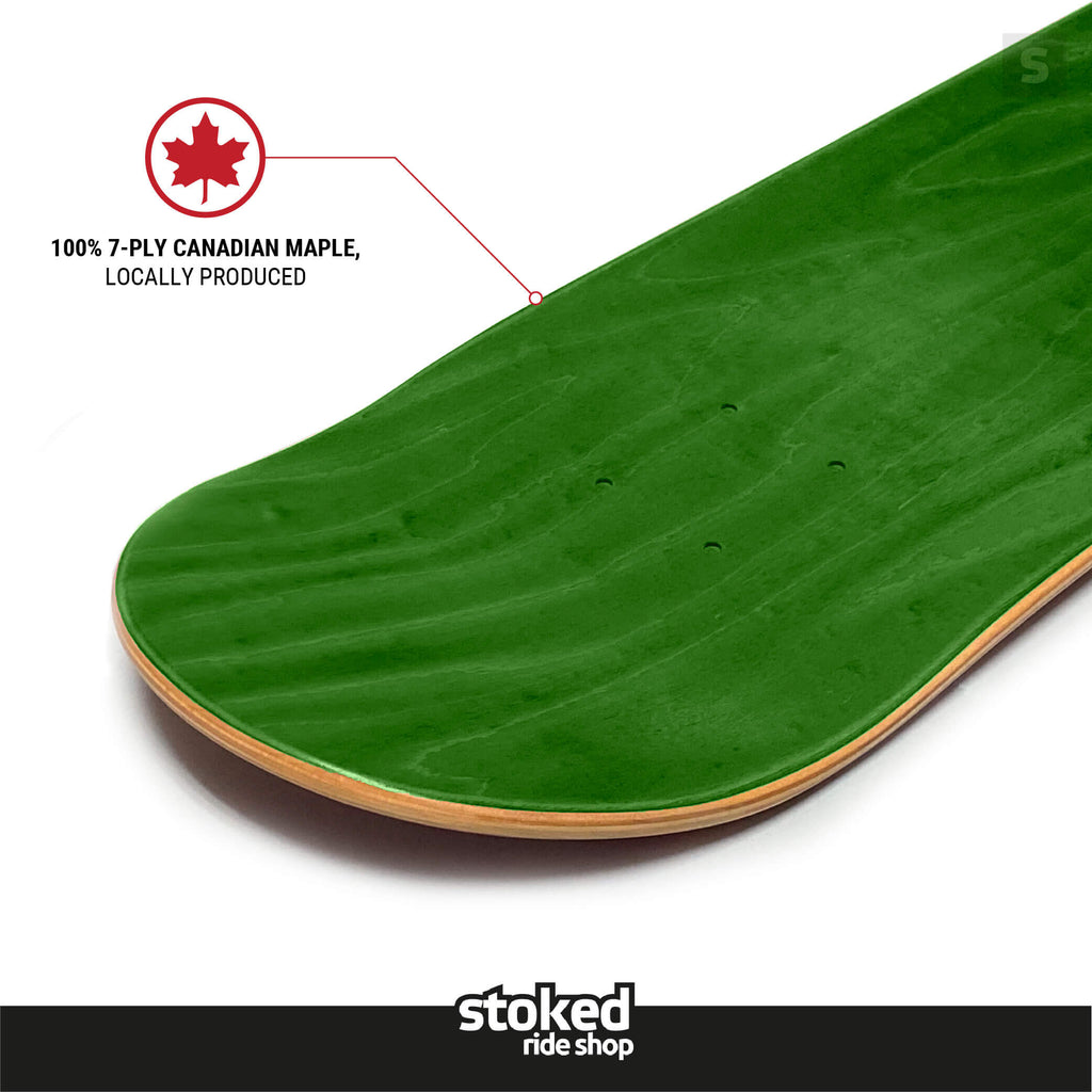 "Stoked Ride Shop Blank Deck, Green Stain, 7.75"" / 8.0"""