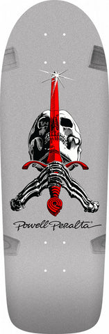 Powell-Peralta Ray Rodriguez OG Skull and Sword Skateboard Deck, Silver, 10""