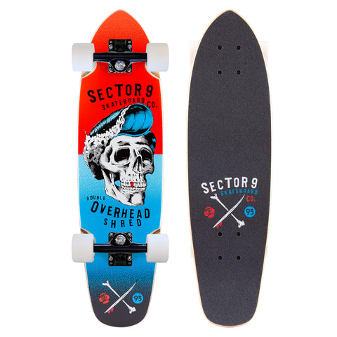Sector 9 Hair Barrel Hopper,Red Mini Cruiser Complete