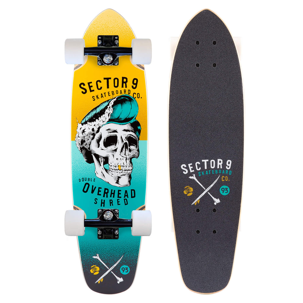 Sector 9 Hair Barrel Hopper, Yellow  Mini Cruiser Complete