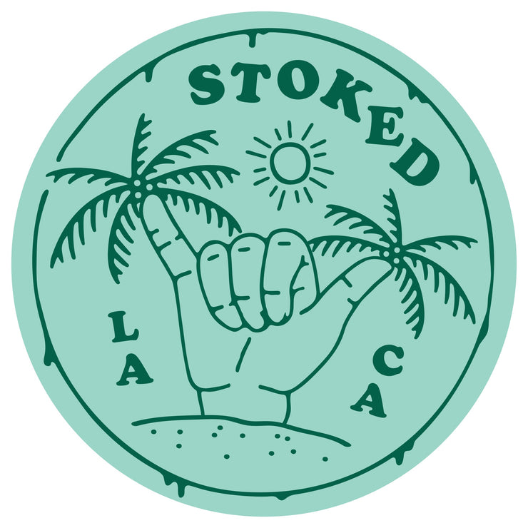 Stoked Shaka Palms Round Sticker