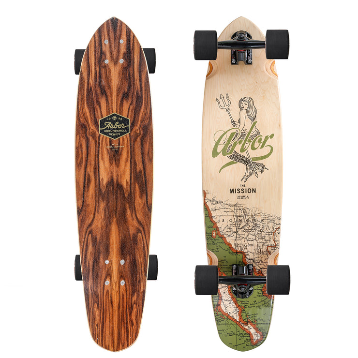 Arbor Mission Groundswell Longboard, Deck and Complete