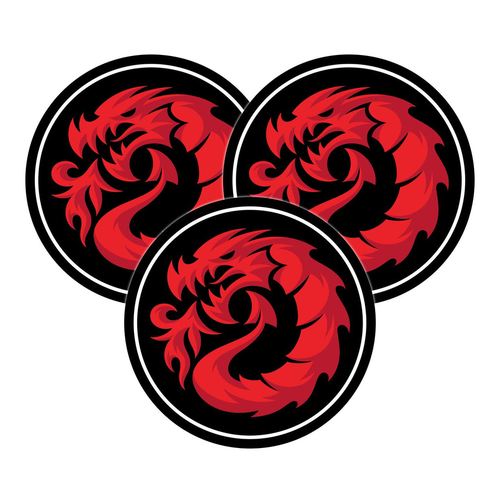 "Fireball Dragon Round Stickers 1.5"" (3.8cm) - 3 Stickers"