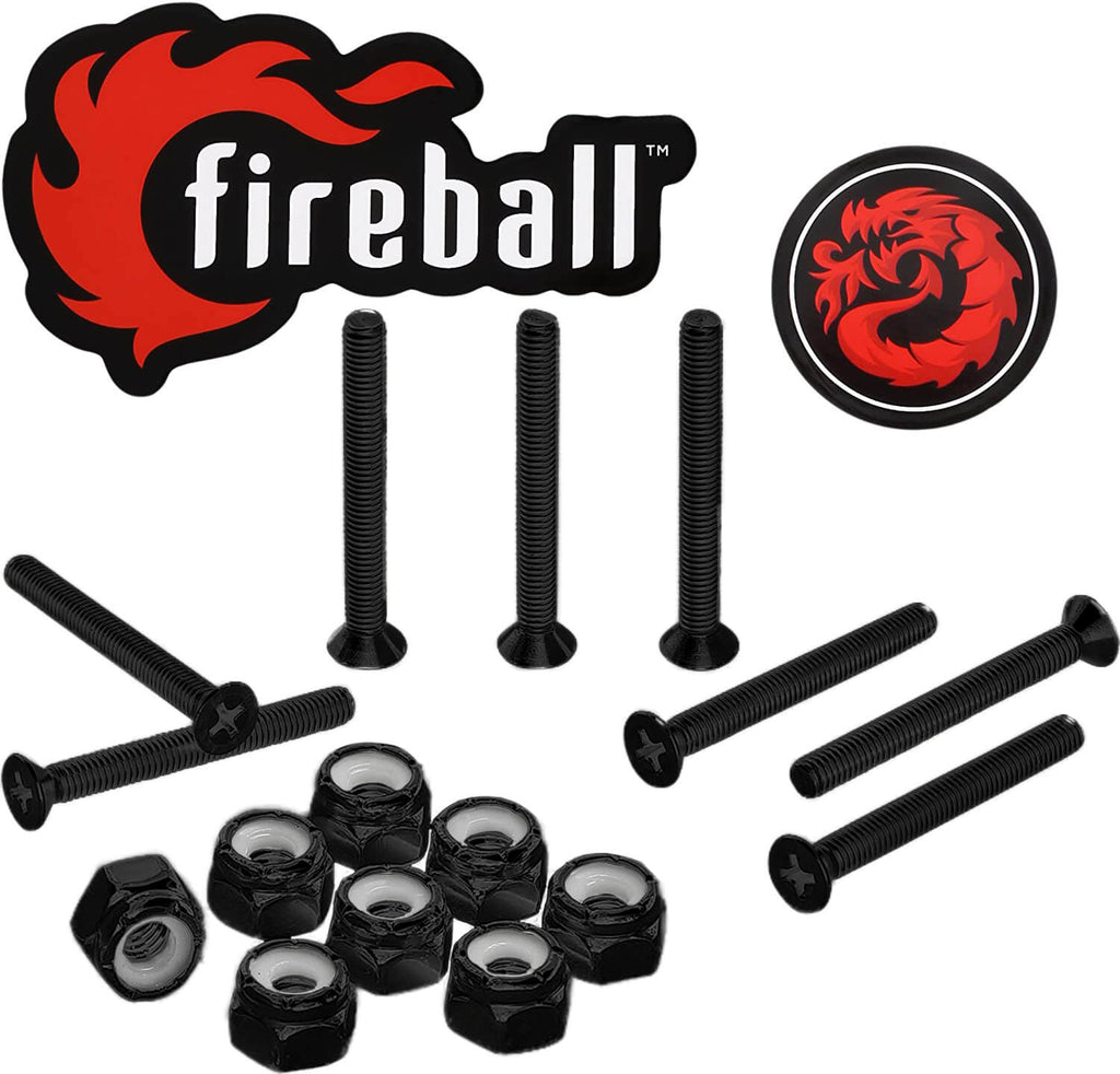 Fireball Dragon Black Stainless Steel Skateboard Hardware Set