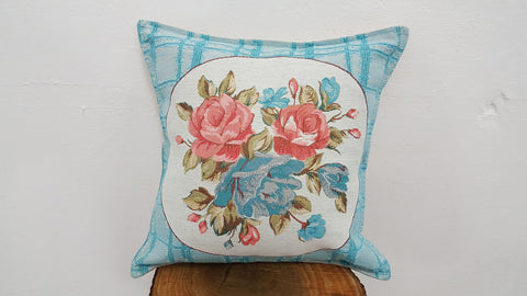 Baby Blue vintage style throw pillow