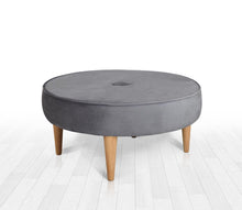 "Round Ottoman Pouf Sunset Gray 31,4"" x 16,1"" inches"