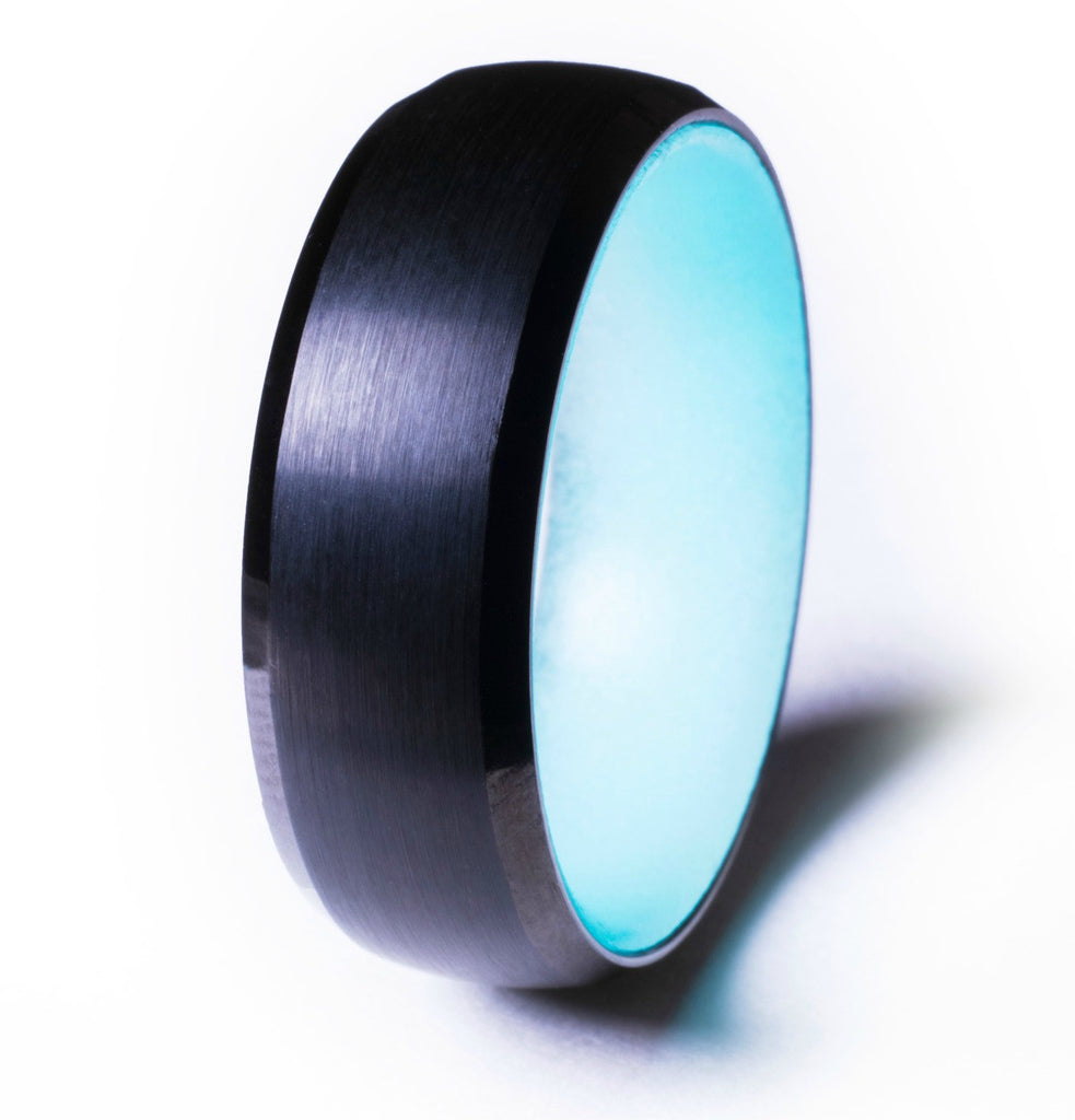 Black Tungsten Glow Ring, Aqua Interior