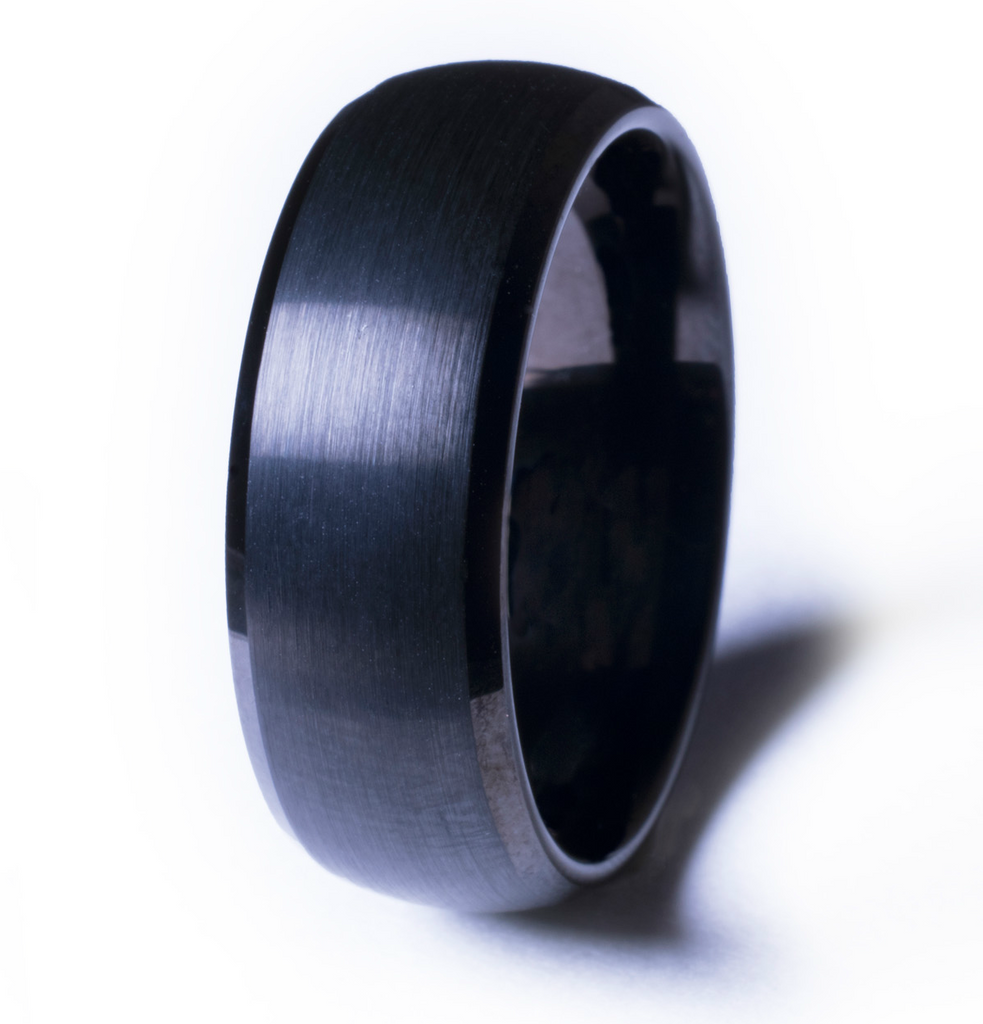 Solid Black Tungsten Ring