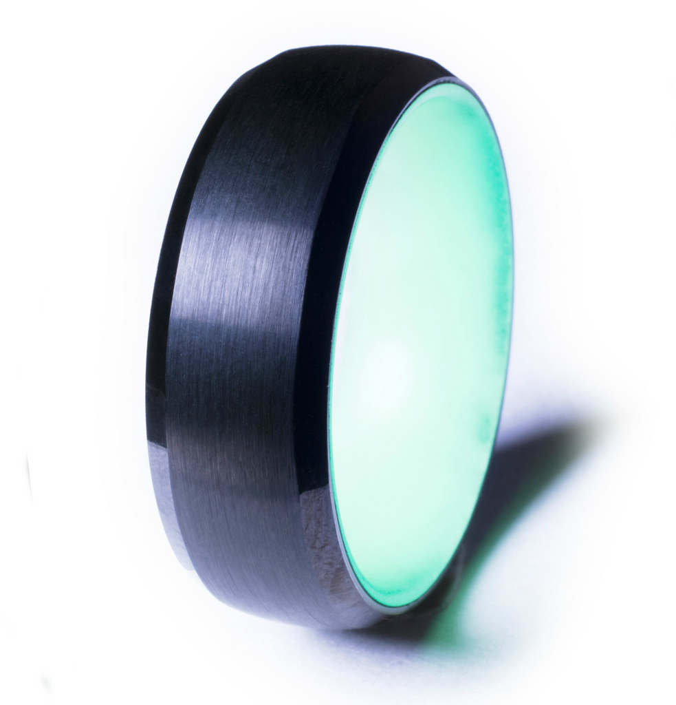 Black Tungsten Glow Ring, Green Interior