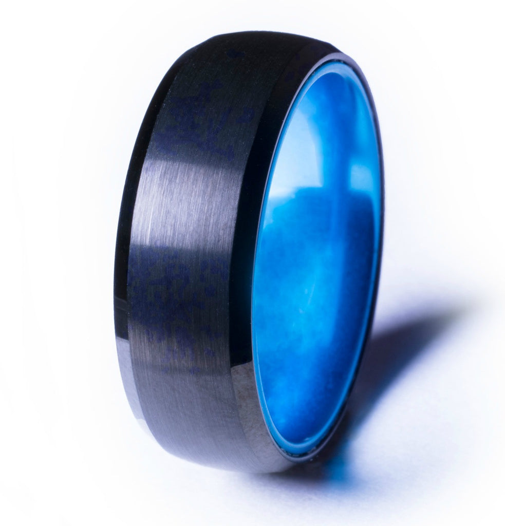 Black Tungsten Ring with Anodized Blue Interior