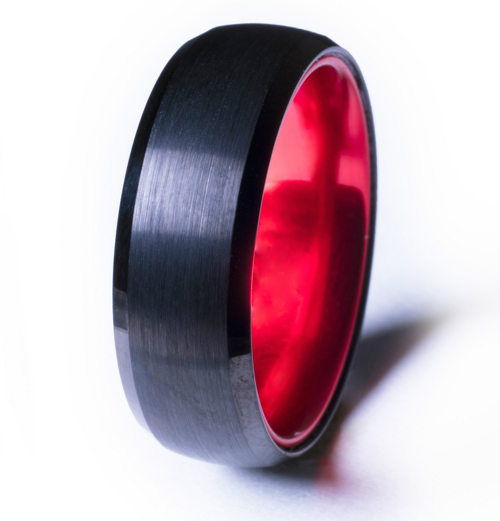 Black Tungsten Ring with Anodized Red Interior