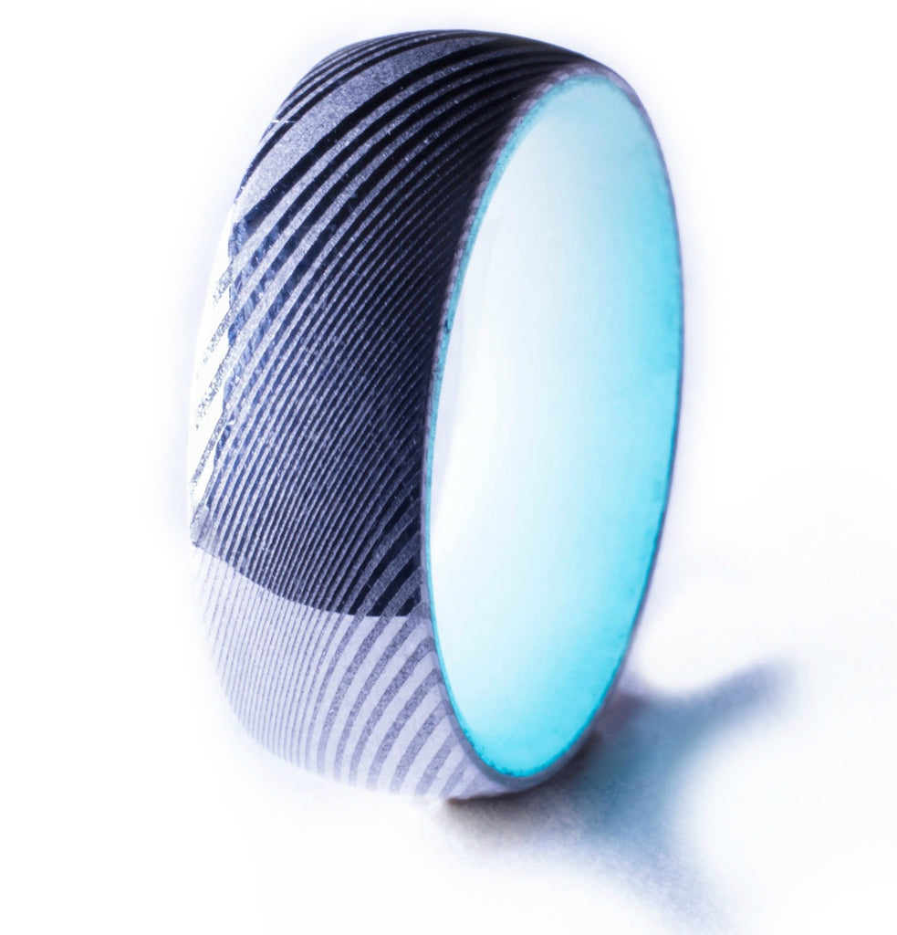 Damascus Steel Glow Ring, Aqua Interior