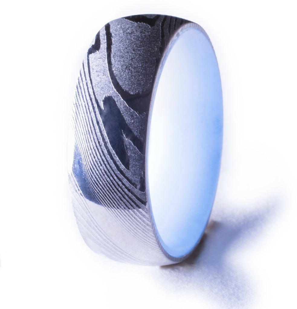 Damascus Steel Glow Ring, Blue Interior