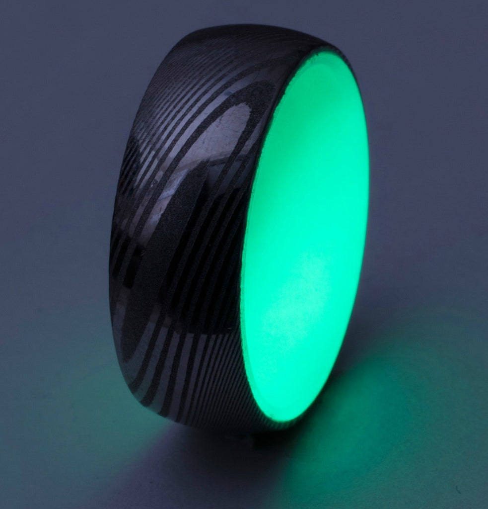Damascus Steel Glow Ring, Green Interior