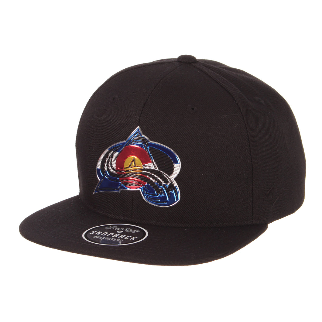Avalanche Colorado Flag Chrome A-Logo Snapback - Black