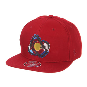 Avalanche Colorado Flag Chrome Foot Logo Snapback - Burgundy