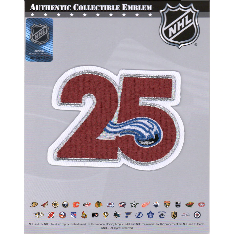 25th Anniversary Patch Applied to Avalanche Jerseys ONLY