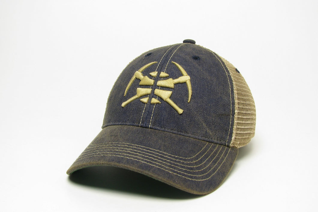 Nuggets Pick Axe Ball Logo Adjustable Mesh Hat - Navy