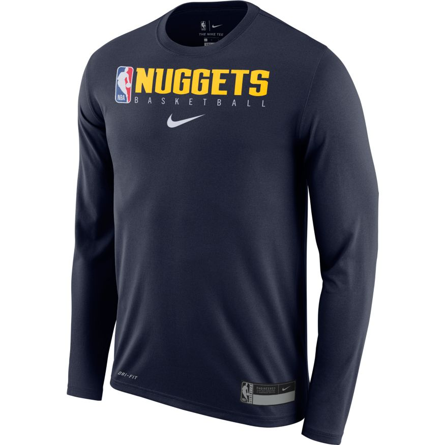 Nuggets 2019 L/S Practice Logo Man Tee - Navy