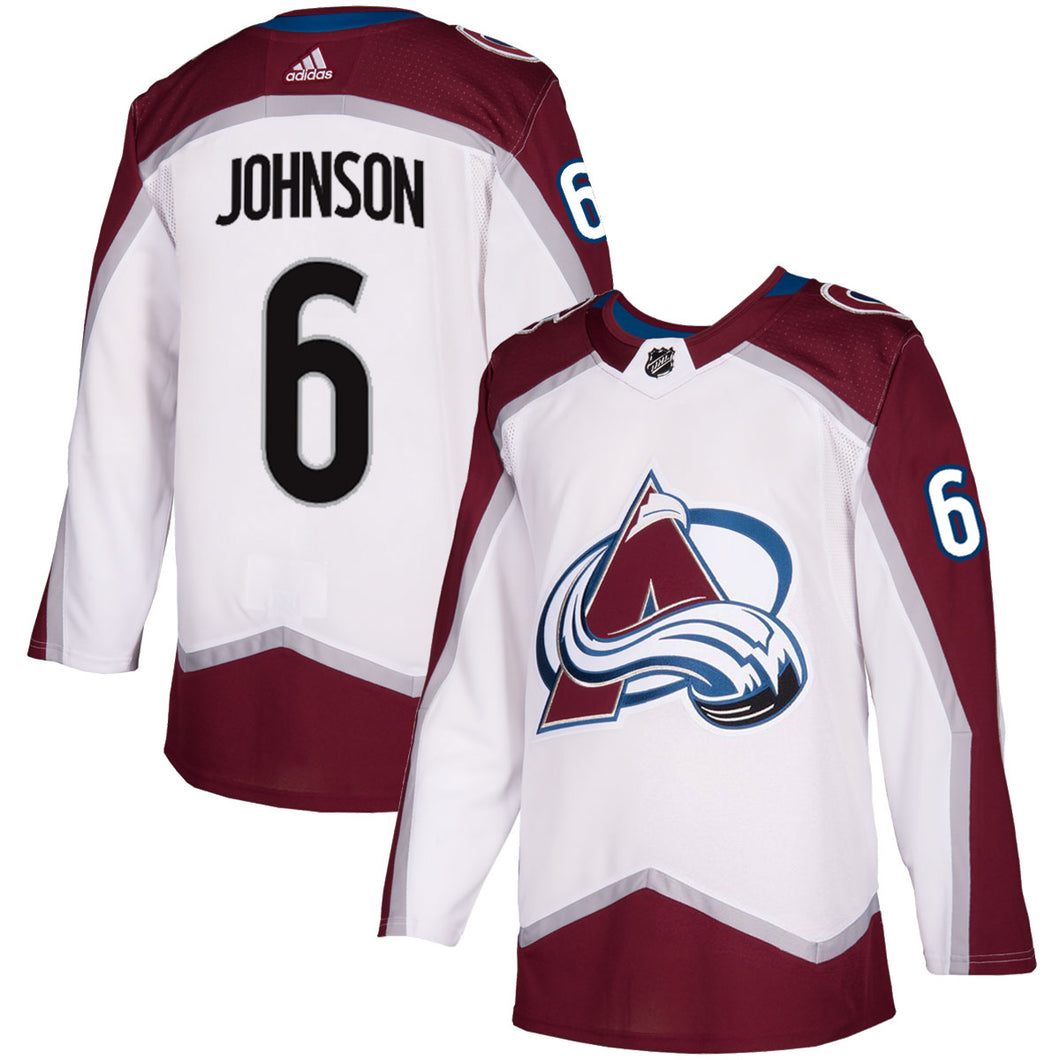 Avalanche Authentic White Road Jerseys