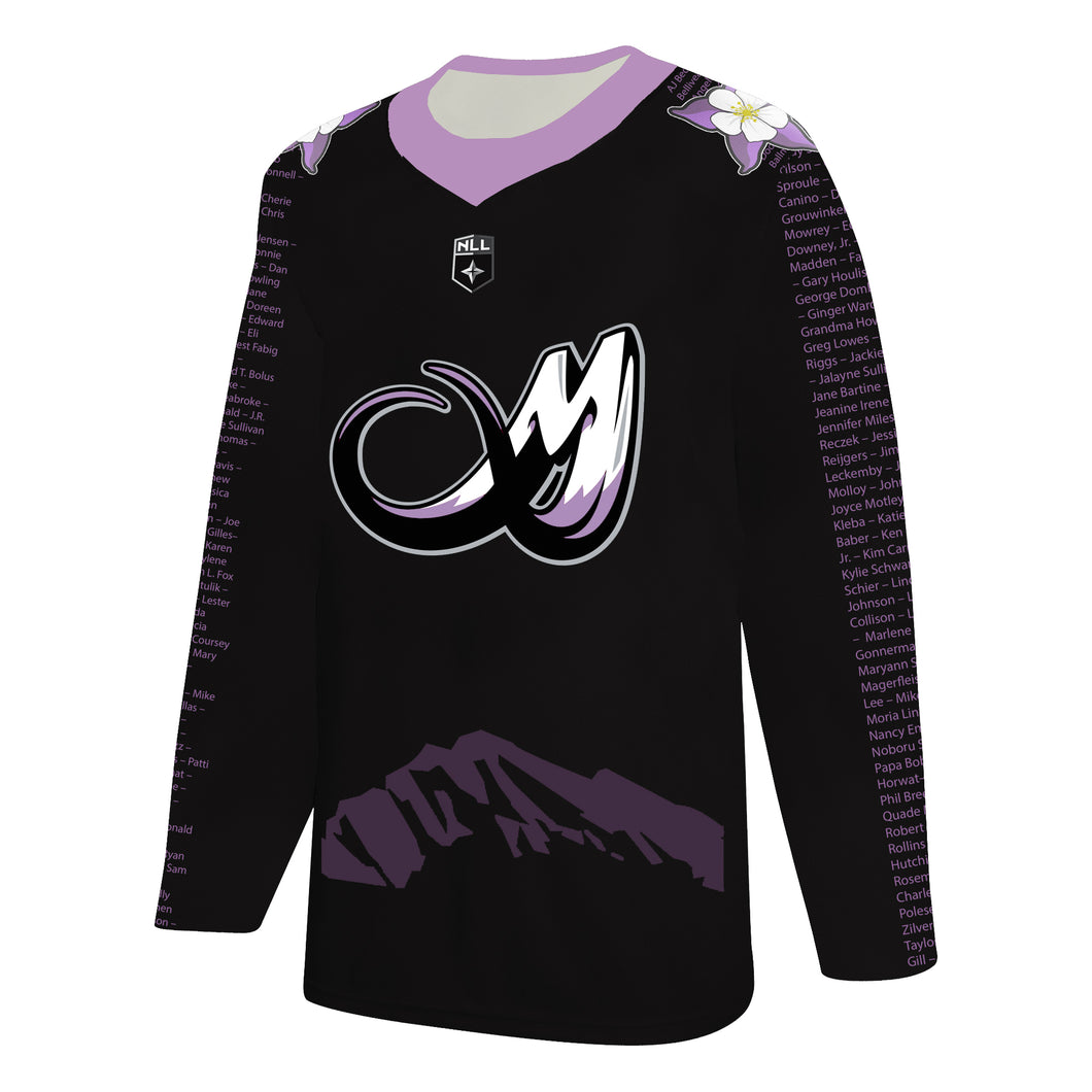 Colorado Mammoth 2020 Lacrosse Out Cancer Jersey