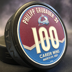 Philipp Grubauer 100th Career Win Puck