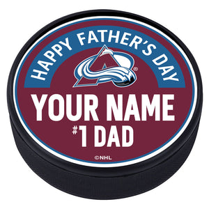 Colorado Avalanche Father's Day Personalized Puck