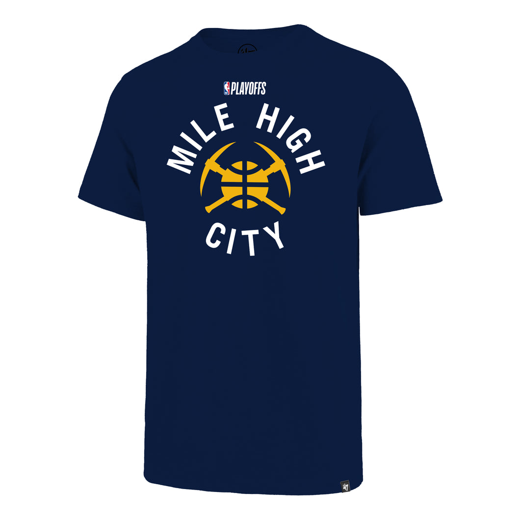 2019 Nuggets Playoff Mile High City Pick Axe Tee - Navy