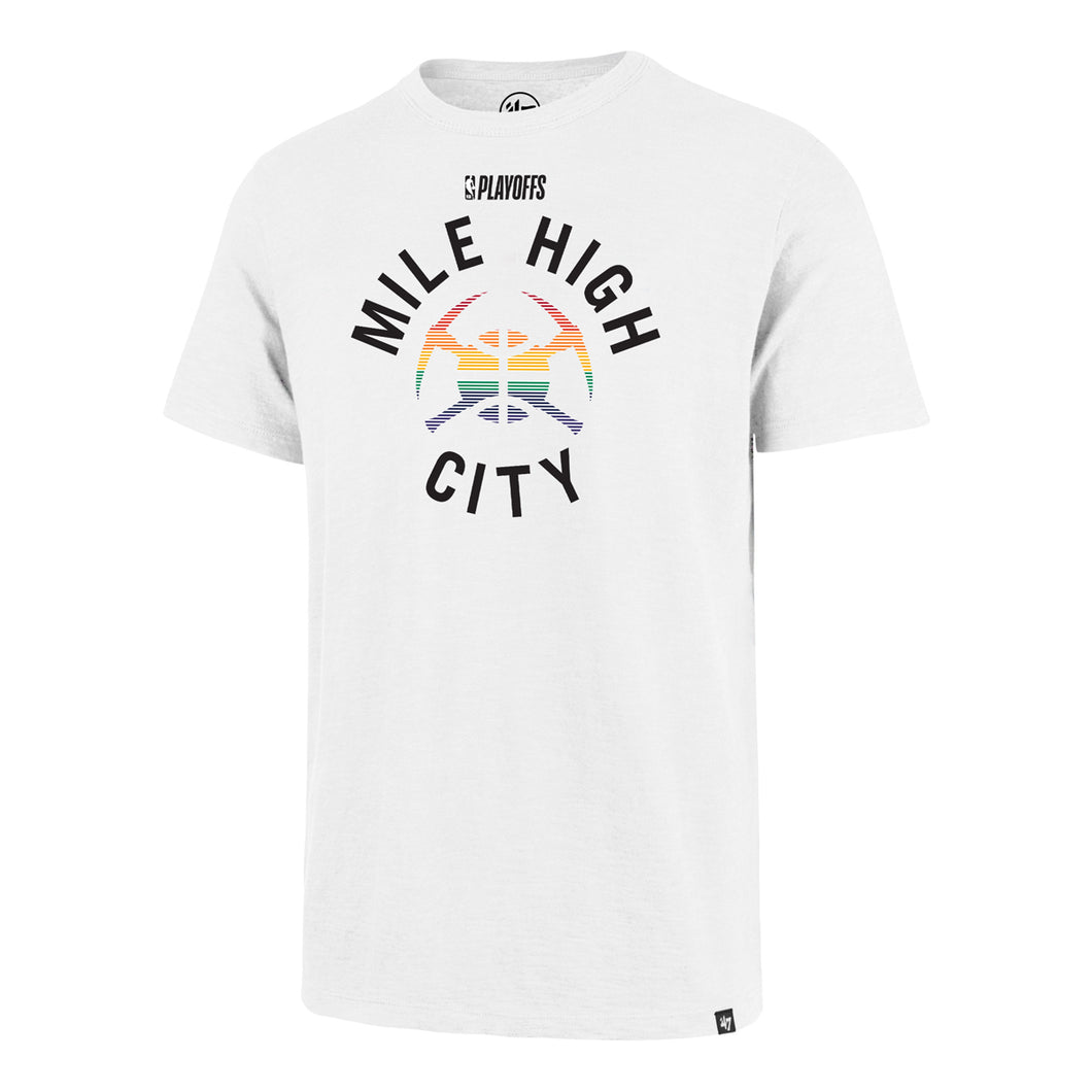 2019 Nuggets Playoff Mile High City Pick Axe Tee - White