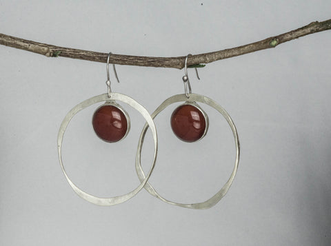 "Hammered Hoops w/ Carnelian (2"")"