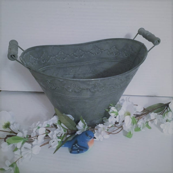Decorative Oval Bucket w/ Wood Handles