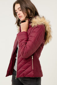 Faux Fur Hooded Jacket - Wine
