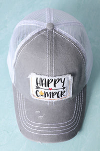 Patched Happy Camper Baseball Cap