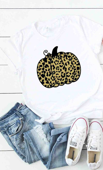 Gold Leopard Pumpkin Graphic Tee