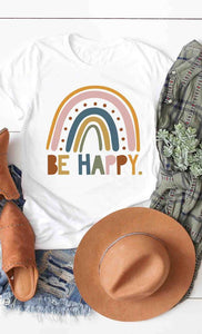 Be Happy Rainbow Graphic Tee (S-XL)