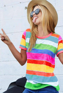 Multi Color Striped Tee